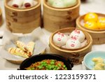 dim sum  traditional chinese... | Shutterstock . vector #1223159371