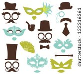retro party set   glasses  hats ... | Shutterstock .eps vector #122316361
