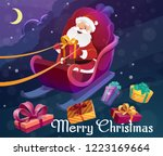 santa claus on sleigh with bag... | Shutterstock .eps vector #1223169664