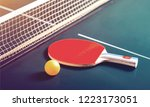 table tennis rackets and ball... | Shutterstock . vector #1223173051