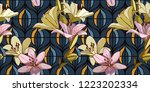 lilies on vintage seamless... | Shutterstock .eps vector #1223202334
