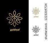 golden floral vector leaves ...   Shutterstock .eps vector #1223205724
