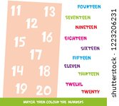 match then colour the numbers... | Shutterstock . vector #1223206231