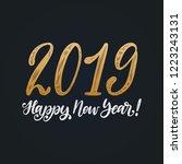 happy new year 2019  hand... | Shutterstock .eps vector #1223243131