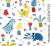 dinosaur seamless pattern with... | Shutterstock .eps vector #1223247151