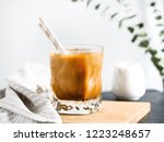 refreshing iced latte coffee in ... | Shutterstock . vector #1223248657