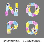 collage abc made of watercolor... | Shutterstock . vector #1223250001