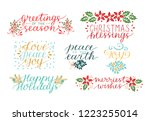 collection with 7 holiday cards ... | Shutterstock .eps vector #1223255014