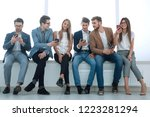 while waiting for the interview ... | Shutterstock . vector #1223281294