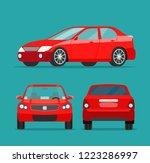 red sedan three angle set. car... | Shutterstock .eps vector #1223286997