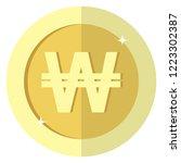 flat korean won currency round...   Shutterstock .eps vector #1223302387