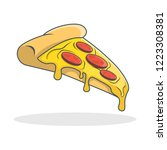 pizza with melted cheese and... | Shutterstock .eps vector #1223308381