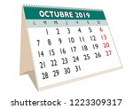 2019 october month in a desk... | Shutterstock .eps vector #1223309317
