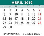 april month in a year 2019 wall ... | Shutterstock .eps vector #1223311537