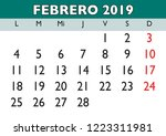 february month in a year 2019... | Shutterstock .eps vector #1223311981