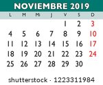 november month in a year 2019... | Shutterstock .eps vector #1223311984