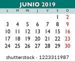 june month in a year 2019 wall... | Shutterstock .eps vector #1223311987