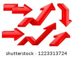 red arrows. 3d icons set.... | Shutterstock .eps vector #1223313724