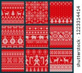 christmas embroidery seamless... | Shutterstock .eps vector #1223314414