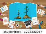 investment tree team discuss...   Shutterstock .eps vector #1223332057