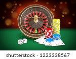 3d rendering of casino roulette ... | Shutterstock . vector #1223338567