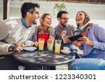 group of four friends having... | Shutterstock . vector #1223340301