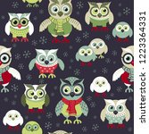 owls in winter seamless pattern.... | Shutterstock .eps vector #1223364331