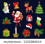 christmas holiday icons ... | Shutterstock .eps vector #1223384614