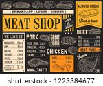 meat product sketches on... | Shutterstock .eps vector #1223384677
