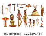 native american indians and... | Shutterstock .eps vector #1223391454