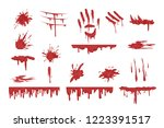 blood spatters set  dripping... | Shutterstock .eps vector #1223391517
