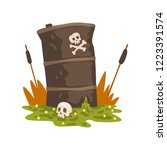 toxic waste barrel and human... | Shutterstock .eps vector #1223391574