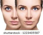 female eyes with bruises under... | Shutterstock . vector #1223405587
