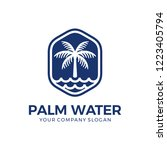 palm logo with water logo design | Shutterstock .eps vector #1223405794
