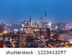shanghai city skyline at night   Shutterstock . vector #1223413297