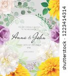 wedding floral  invitation ...   Shutterstock .eps vector #1223414314