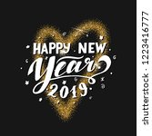 happy new year 2019 lettering.... | Shutterstock .eps vector #1223416777