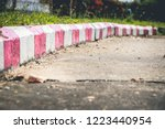 red and white stripes on the...   Shutterstock . vector #1223440954