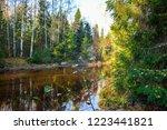 autumn forest river water view. ...   Shutterstock . vector #1223441821