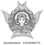 seraph  six winged angel.... | Shutterstock .eps vector #1223446171
