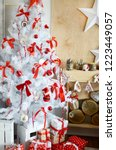 white christmas tree in the...   Shutterstock . vector #1223449057