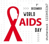 world aids day red ribbon... | Shutterstock .eps vector #1223452267