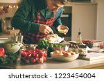 man preparing delicious and... | Shutterstock . vector #1223454004
