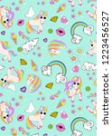 pattern with unicorns  rainbow  ... | Shutterstock .eps vector #1223456527