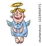 funny christmas angel toy...   Shutterstock .eps vector #1223456971