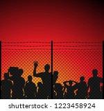 silhouette of refugee... | Shutterstock .eps vector #1223458924