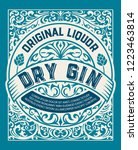 vintage gin label. vector... | Shutterstock .eps vector #1223463814