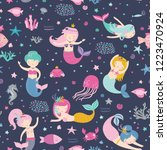 seamless childish pattern with... | Shutterstock .eps vector #1223470924