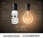 figure of a luminous light bulb ... | Shutterstock .eps vector #1223489344