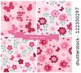 set seamless pattern flowers ... | Shutterstock .eps vector #122350297